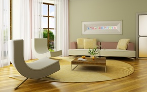 Picture design, style, sofa, furniture, interior, plants, chair, pillow, window, form, living room, room. apartment