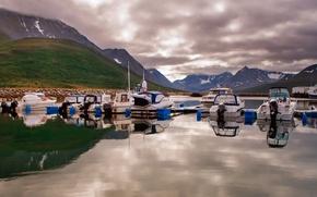 Wallpaper sea, boat, mountains, Norway