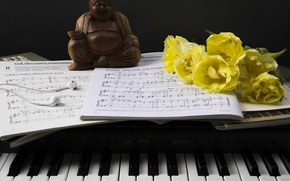 Picture flowers, style, notes, headphones, keys, tulips, figurine, piano