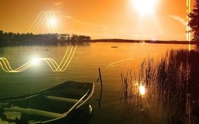 Wallpaper the sun, lake, Boat