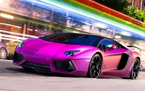 Picture road, light, night, the city, Lamborghini, excerpt, Lamborghini, Lamborghini, LP700-4, Aventador, Aventador