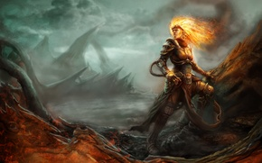 Picture girl, flame, armor, sorceress, Magic: The Gathering, Chandra