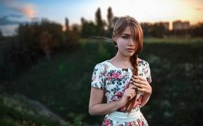 Picture girl, sunset, dress, braid, Russia, the beauty, Maria, Masha, George Chernyadev, Russian style