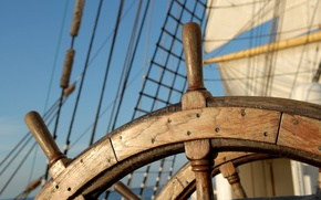 Picture mood, ship, sailboat, sails, adventure, journey, the wheel