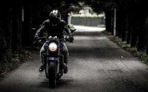 Picture road, motorcycle, helmet, biker, bike, biker