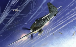 Picture aircraft, war, art, airplane, aviation, dogfight
