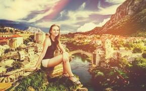 Picture girl, river, Wallpaper, graphics, London, poster, Montenegro