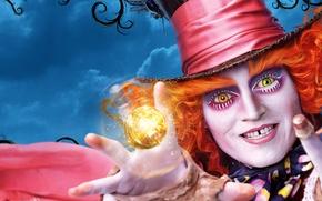 Picture Johnny Depp, Orange, Fantasy, Clouds, Sky, Green, Glass, Mad, Tree, the, Yellow, Joker, Eyes, Boy, …