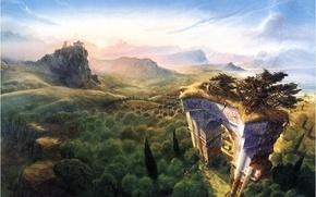 Picture sea, mountains, fantasy, adventure, journey, the gates