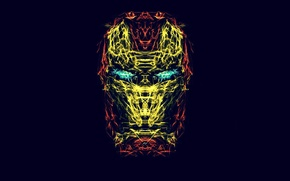 Picture fractals, Minimalism, mask, iron man, Iron Man, minimalistic, fractalius