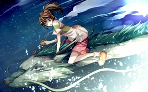Wallpaper dragon, girl, Spirited away, Hayao Miyazaki