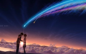 Wallpaper sunset, clouds, stars, miyamizu mitsuha, tachibana taki, masabodo, night, girl, anime, students, guy, art, the ...