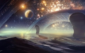 Picture space, planet, stars, Beyond the cluster