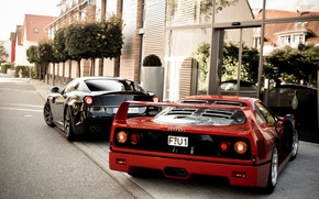 Picture trees, red, black, the building, Ferrari, red, Ferrari, black, 599, tree, gto, back, building, f40, ...