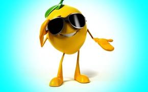 Picture smile, background, lemon, glasses, lemon, smile, background, glasses