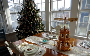 Picture decoration, tree, Christmas, New year, festive table