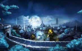 Picture moon, night, bat, village, flag, castle