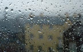 Picture glass, water, drops, house, rain, blur, shape