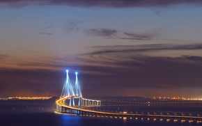 Picture the sky, clouds, night, bridge, the city, lights, excerpt, backlight, Asia, South Korea, Incheon, Songdo