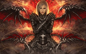 Picture folded hands, armor, girl, wings, cross