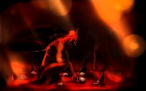 Picture lights, blood, wings, art, skull, The demon, Gemmaqw, Angel of Blood