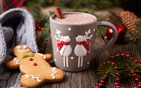 Picture New Year, cookies, Christmas, Christmas, cakes, Xmas, glaze, cocoa, cookies, decoration, gingerbread, Merry
