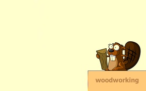 Picture tree, animal, the inscription, minimalism, tail, beaver, beaver, woodworking