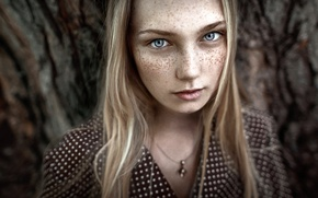 Picture girl, portrait, polka dot, dress, freckles, the beauty, art photo, JUL'