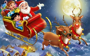Picture sleigh, gifts, holiday, children, art, toys, the city, the moon, night, Santa Claus, deer
