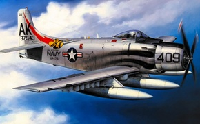 Picture bomber, war, art, airplane, painting, aviation, attacker, Douglas A-1 Skyraider