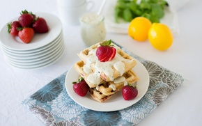 Picture red, background, widescreen, Wallpaper, lemon, food, strawberry, strawberry, berry, wallpaper, dessert, widescreen, waffles, background, sweet, ...