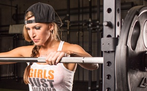 Wallpaper blonde, pose, workout, fitness, gym