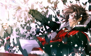 Wallpaper butterfly, hands, petals, drop, guy, Amnesia, Shin