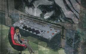 Picture chair, guy, laboratory, screen, ergo proxy, Ergo Proxy, remote control, daedalus yumeno