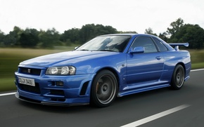 Picture road, blue, nissan, sports car, skyline, Nissan, gt-r, r34, gtr, skyline, legendary car, v-spec