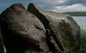 Picture girl, lake, stone, Tatiana Mercalova