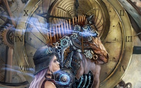 Picture girl, surrealism, horse, watch, mechanism, head, art, dial, helmet