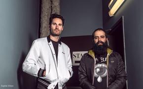 Picture blowing, indie pop, Beard, glasses, Ryan Merchant, Capital Cities, Sebu Simonian