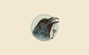 Wallpaper eyes, minimalism, vector, key, Raven, illustration