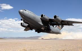 Wallpaper cargo, dust, landing, desert, USA