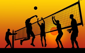 Picture sunset, mesh, jump, sport, graphics, the ball, men, volleyball, athletes, throw, LBes
