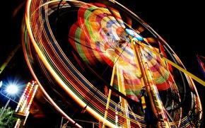 Wallpaper color, entertainment, Ferris wheel, night