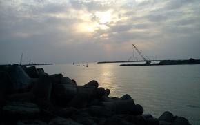 Picture sunrise, boat, lantern, Sea, Iran, crane, breakwater, Caspian, Bandar-e Anzali