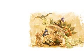 Picture childhood, mood, grandma, tale, the evening, art, girl, children's, dragon.