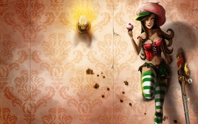 Picture girl, weapons, wall, lamp, candle, machine, cake, league of legends, Caitlyn