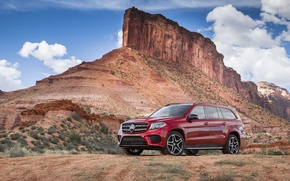 Picture Mercedes-Benz, Red, Rock, AMG, Line, Cars, 550, 4MATIC, 2017, GLS, (X166)