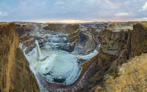 Picture canyon, panorama, palouse falls, golden, ice, winter