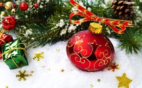 Picture red, New Year, branch, spruce, snow, holidays, Christmas, toys, ball, New Year, tree, ball, Christmas, …