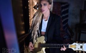 Picture girl, music, black, woman, hair, dark, the evening, music, actress, dark, album, singer, girl, guitar, …