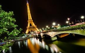 Picture light, night, bridge, the city, river, France, Paris, Hay, Eiffel tower, Paris, France, Eiffel Tower, …